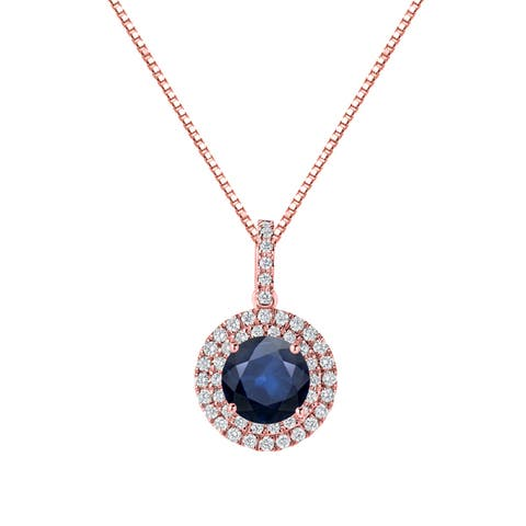 14k Gold Round 2ct Blue Sapphire and 3/5ct TDW Diamond Halo Necklace by Auriya