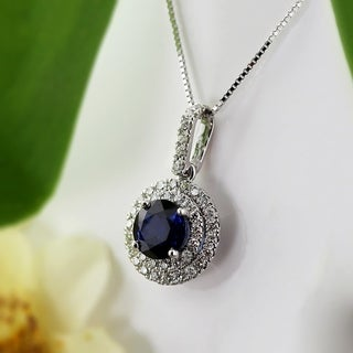 Auriya 14k Gold 2ct Blue Sapphire and 3/5ct TDW Diamond Halo Necklace (H-I, SI1-SI2)|https://ak1.ostkcdn.com/images/products/13408468/P20103304.jpg?_ostk_perf_=percv&impolicy=medium
