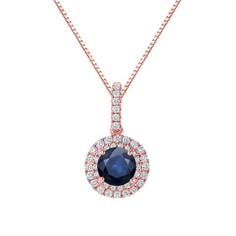 Auriya 2 1/2ct Round Blue Sapphire and 3/5ctw Double Halo Diamond Necklace 14K Gold