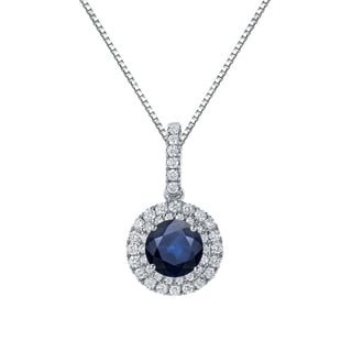 Auriya 14k Gold 2 1/2ct Blue Sapphire and 3/5ct TDW Diamond Halo Necklace (H-I, SI1-SI2)