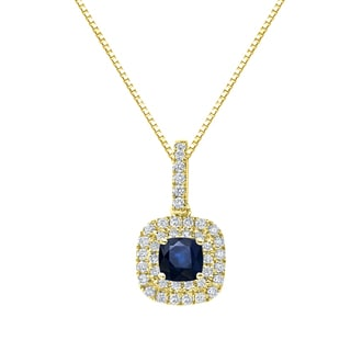 Auriya 14k Gold 1 1/4ct Blue Sapphire and 3/5ct TDW Diamond Halo Necklace (H-I, SI1-SI2)