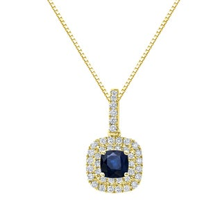 Auriya 14k Gold 1 1/4ct Cushion-Cut Blue Sapphire and 3/5ct TDW Double Halo Diamond Necklace