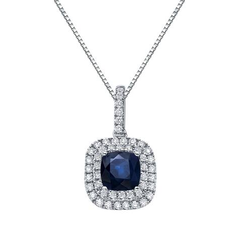 Auriya 3ct Blue Sapphire Cushion and 3/5ctw Double Halo Diamond Necklace 14K Gold