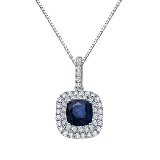 Auriya 14k Gold 3ct Cushion-Cut Blue Sapphire and 3/5ct TDW Double Halo Diamond Necklace