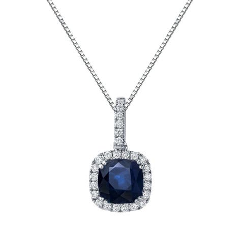 Auriya 2 1/2ct Cushion Cut Blue Sapphire and 3/5ctw Double Halo Diamond Necklace 14K Gold