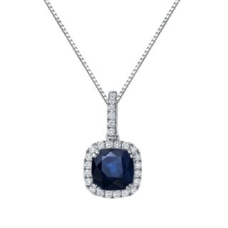 Auriya 14k Gold 2 1/2ct Cushion-Cut Blue Sapphire and 3/5ct TDW Halo Diamond Necklace