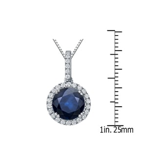 Auriya 14k Gold 3ct Blue Sapphire Gemstone and 1/4ct TDW Round Diamond Halo Necklace (H-I, SI1-SI2)