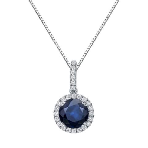 Auriya 14k Gold 2ctw Blue Sapphire Halo Diamond Necklace 1/4ct TDW