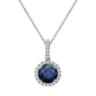 Auriya 14k Gold 2ct Blue Sapphire and 1/4ct TDW Diamond Halo Necklace (H-I, SI1-SI2)