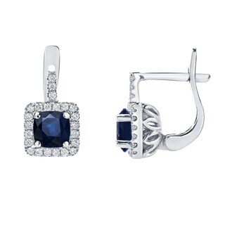 14k Gold 2 carat Blue Sapphire Cushion and 2/5ct TDW Diamond Halo Earrings by Auriya