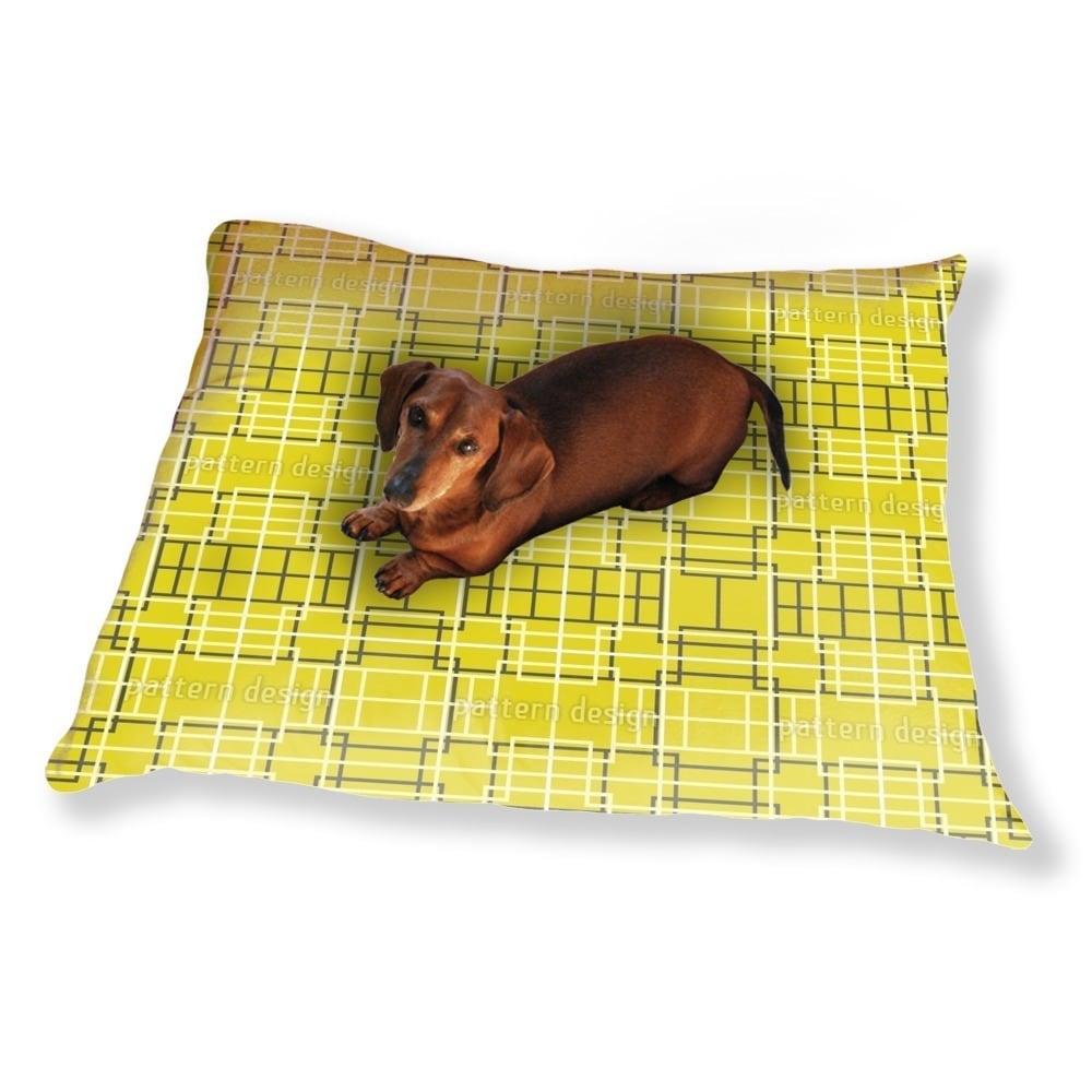 Uneekee Asian Lattice Yellow Dog Pillow Luxury Dog / Cat ...