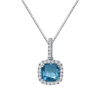 Auriya 14k Gold 2 1/4ct TDW Cushion Cut Blue Diamond Halo Necklace (Blue, SI2-SI3)