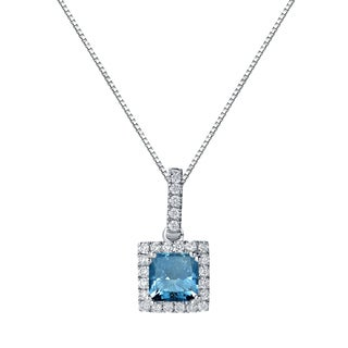 Auriya 14k Gold 1 1/4ct TDW Princess Cut Blue Diamond Halo Necklace (Blue, SI2-SI3)