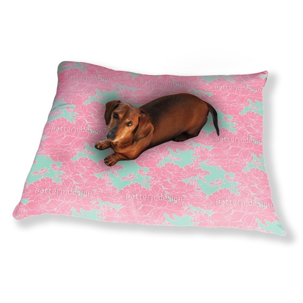 Uneekee Vintage Flowers Pink Dog Pillow Luxury Dog / Cat ...
