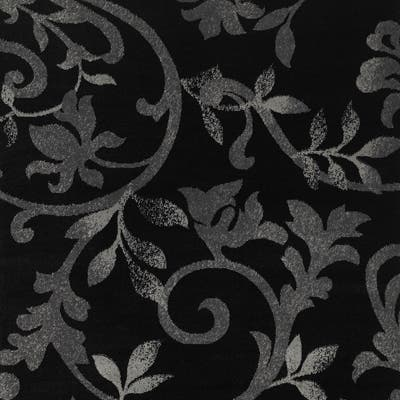 "LR Home Grace Vines Black Indoor Area Runner Rug ( 2'1 x 7'5 ) - 2'1"" x 7'5"" Runner"