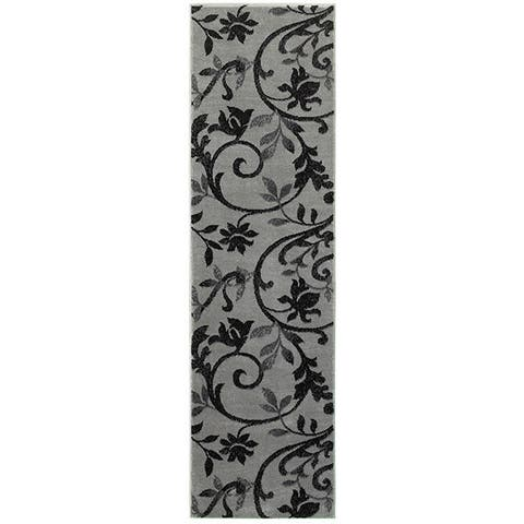 "LR Home Grace Vines Gray Indoor Area Runner Rug ( 2'1"" x 7'5"" ) - 2'1"" x 7'5"" Runner"