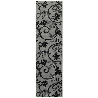 LNR Home Grace Grey/Black Olefin Plush Indoor Runner Rug (2'1 x 7'5)