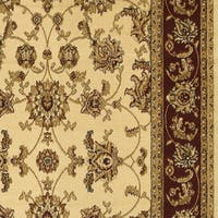 """LR Home Grace Traditional Ivory / Red Indoor Runner Rug - 2' x 7'5"""""""