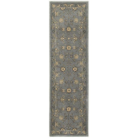"""LR Home Grace Traditional Gray Indoor Area Runner Rug ( 2'1"""" x 7'5"""" ) - 2'1 x 7'5"""