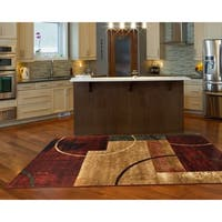 LR Home Grace Red Modern Geometric Indoor Area Rug - 5'2 x 7'2