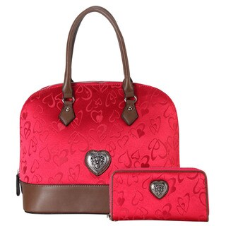 Rimen & Co. Red Faux-leather Heart Print 2-piece Tote Bag and Wallet Set