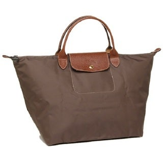 Longchamp Le Pliage Tierra and Brown Nylon Large Foldable Tote Bag