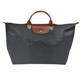 Longchamp Le Pliage Gun/Grey Nylon Large Foldable Tote Bag