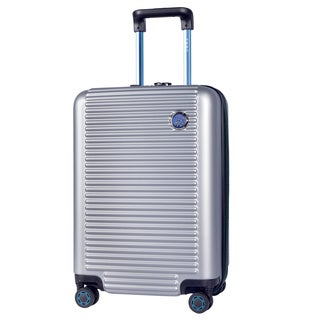 Travelers Club Beijing Silver-tone and Black ABS 20-inch Expandable Hardside Carry-on Spinner Suitca