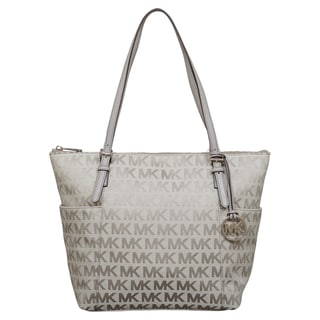 Michael Kors Jet Set Light Grey East/West Top Zip Tote Bag