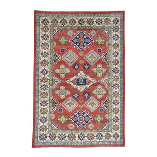 Hand-Knotted Geometric Design Kazak Wool Oriental Rug (6'5x9'6)