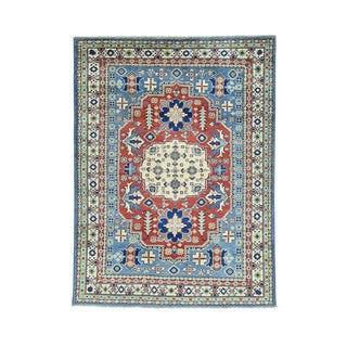 Hand-Made Blue Kazak Tribal Design Wool Oriental Rug (4'10x6'6)