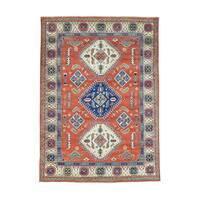 Hand-Knotted Wool Red Geometric Kazak Oriental Rug (5'7x7'10)