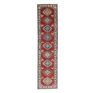 Geometric Kazak Wool Hand-Knotted Oriental Runner Rug (2'7x11'8)
