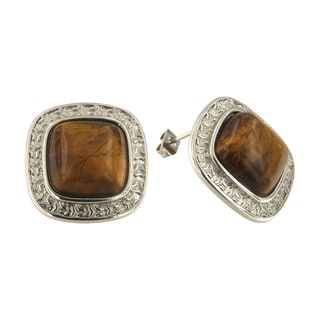 Yellow Tiger Eye Cushion Cabochon 14 mm Brass Silver Color Finish Fashion Jewelry Stud Earrings