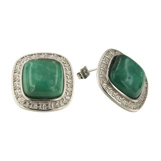 Malachite Cushion Cabochon 14 mm Brass Silver Color Finish Fashion Jewelry Stud Earrings