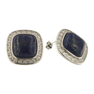 Dyed lapis Lazuli Cushion Cabochon 14 mm Brass Silver Color Finish Fashion Jewelry Stud Earrings