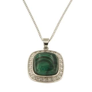 "Malachite Cushion Cabochon 16 mm Brass Silver Color Finish Fashion Jewelry 18"" Pendant Necklace"