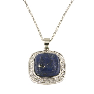 "Dyed Lapiz Lazuli Cushion Cabochon 16 mm Brass Silver Color Finish Fashion Jewelry 18"" Pendant Necklace"
