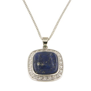 """Dyed Lapiz Lazuli Cushion Cabochon 16 mm Brass Silver Color Finish Fashion Jewelry 18"""" Pendant Necklace Jewelry for Womens"""