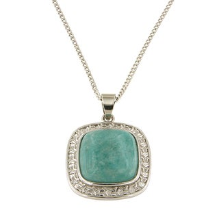 "Amazonite Cushion Cabochon 16 mm Brass Silver Color Finish Fashion Jewelry 18"" Pendant Necklace Jewelry for Womens - Green"
