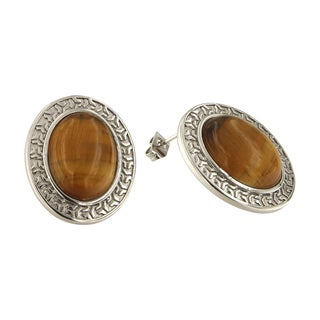 Yellow Tiger Eye Oval Cabochon 12x16 mm Brass Silver Color Finish Fashion Jewelry Stud Earrings