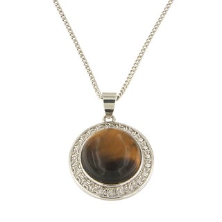 "Yellow Tiger Eye Round Cabochon 16 mm Brass Silver Color Finish Fashion Jewelry 18"" Pendant Necklace"