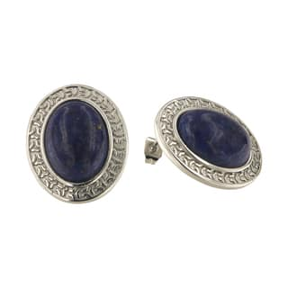 Dyed lapis Lazuli Oval Cabochon 12x16 mm Brass Silver Color Finish Fashion Jewelry Stud Earrings|https://ak1.ostkcdn.com/images/products/13427309/P20120048.jpg?impolicy=medium