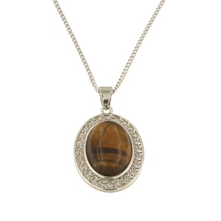 "Yellow Tiger Eye Oval Cabochon 13x18 mm Brass Silver Color Finish Fashion Jewelry 18"" Pendant Necklace"
