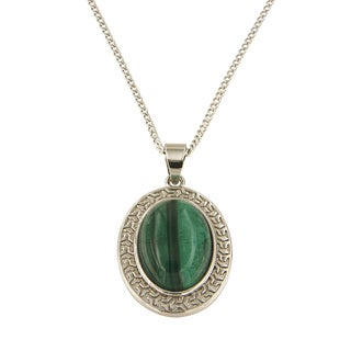 "Malachite Oval Cabochon 13x18 mm Brass Silver Color Finish Fashion Jewelry 18"" Pendant Necklace"