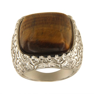 Yellow Tiger Eye Cushion Cabochon 18 mm Brass Silver Color Finish Fashion Jewelry Ring