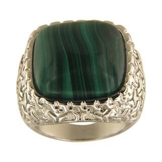 Malachite Cushion Cabochon 18 mm Brass Silver Color Finish Fashion Jewelry Ring