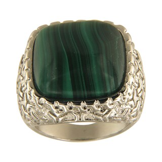 Malachite Cushion Cabochon 18 mm Brass Silver Color Finish Fashion Jewelry Ring Jewelry for Womens - Green