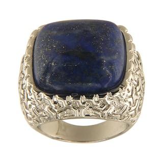 Dyed Lapiz Lazuli Cushion Cabochon 18 mm Brass Silver Color Finish Fashion Jewelry Ring - Blue