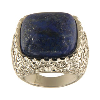 Dyed Lapiz Lazuli Cushion Cabochon 18 mm Brass Silver Color Finish Fashion Jewelry Ring - Blue